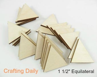 """Wood Triangles Equilateral Jewelry Earrings Game Pieces - Laser Cut Wood - 1 5/16"""" H - 1 1/2"""" Sides - No Hole - 25 Pieces"""