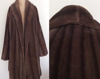 1940's Faux Fur Brown Mink Long Fur Coat Size Medium Large XL by Maeberyr Vintage