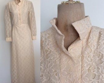 1970's Ivory Lace Floor Length Gown White Wedding Dress Size Medium Large by Maeberry Vintage