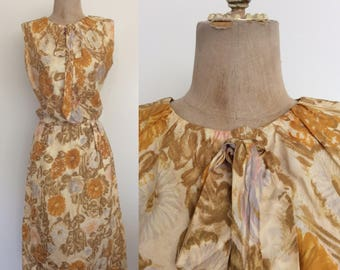 1960's Yellow Floral Silk Dress Vintage Wiggle Dress Size XS Small Tall by Maeberry Vintage