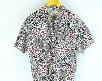 Animal Print Shirt, 1980s Big Shirt, Red White and Black Zebra TIger Cheetah Size Large to XL