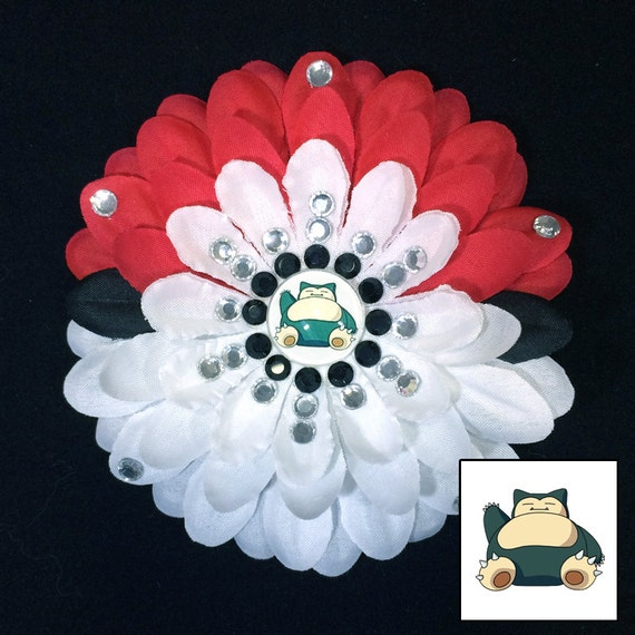 Choose Your Pokemon Pokeball Red and White Sparkly Rhinestone Flower Barrette