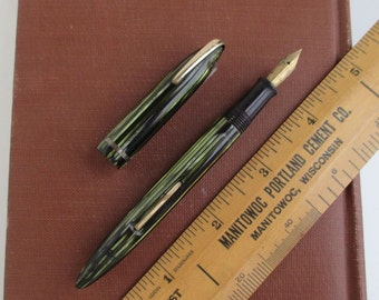 Sheaffer 400 Fountain Pen w/ Military Clip - Vintage Green Striped Sheaffer's, AS IS