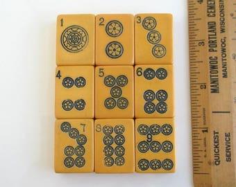 9 Bakelite Mah Jong Tiles - Vintage Ma Jiang 1-9 Bing