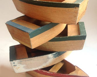5 vintage little wooden boats