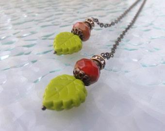 Versatile Brass Chain Lariat with Czech Glass Beads