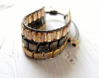 Bohemian Beaded Wristband, Czech Glass Bracelet, Bohemian Bijoux, BohoBracelet, Festival Fashion, Metallic Gold Tones, Boho Chic, Gold Tones