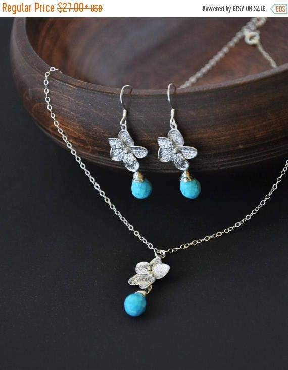 Mothers Day SALE Silver Plumeria Jewelry Set with Turquoise Gemstones - Plumeria Necklace and Plumeria Earrings, Hawaii Jewelry, Hawaii Wedd