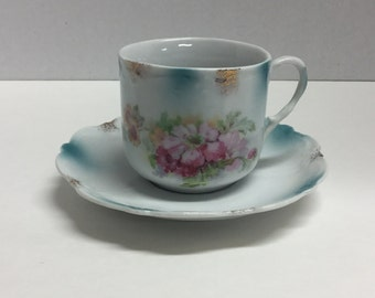 Vintage Tea Cup and Saucer Set Pink Flowers Floral Dusty Blue Unmarked