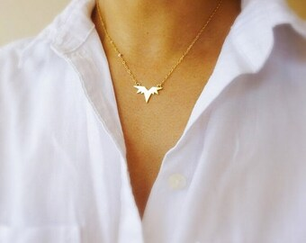 Gold Spike Necklace-Wing Charm Necklace-Thunderbird Necklace-Spike Necklace-Bat Wing Necklace-Geometric Necklace-Eagle Necklace-Momentusny