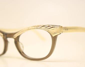 Unused Rose Gold Brown Combination vintage cat eye eyeglasses vintage cat eye glasses frames Cateye frames NOS
