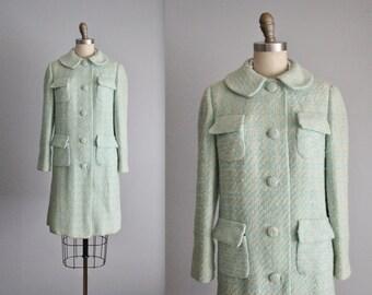 60's Seafoam Coat // Vintage 1960's Seafoam Tweed Mod Coat S M