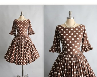 STOREWIDE SALE 50's Dress // Vintage 1950's Polka Dot Cotton Full Garden Party Summer Pinup Dress S