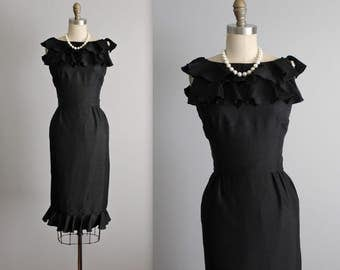 50's Cocktail Dress // Vintage 1950's Lord & Taylor Black Fitted Cocktail Party Dress XS