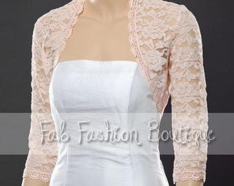 Pink 3/4 sleeved lace bolero jacket shrug Size S-XL, 2XL-5XL