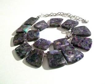 Sea Sediment, Purple Jasper Pyrite Necklace Choker Collar, Statement Necklace, One of a Kind, 2 Piece Set