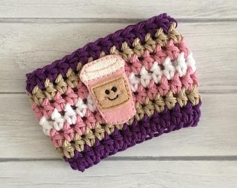 Coffee cup cozy, purple cup cozy, pink cup cozy, coffee cup cozy, Summer cup cozy, coffee cup sleeve, crochet cozie, planner supplies, cozy