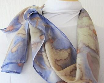 New silk scarf .Habotai silk scarf.Handmade. Eco print .Leaf pattern. Scarf.Multicolor. blue, grey, brown,red,orange,purple,green