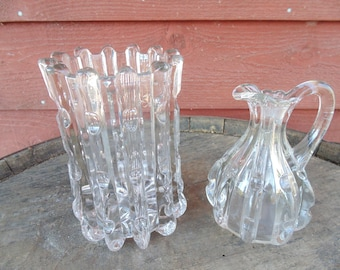 BROKEN COLUMN. Vase. Pattern Glass Vase. Broken Bamboo. Spooner. Broken Bamboo. Cruet. Elegant Glass. Antique Glass. EAPG. 2 pc. gift idea