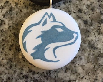Husky design hand carved on a polymer clay white color background. Pendant comes with a FREE necklace
