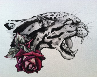Oselot Watercolor Original 11x14inches Rose Tattoo Style