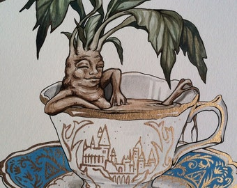 Mandrake in a Teacup Watercolor Original 11x14inches Harry Potter