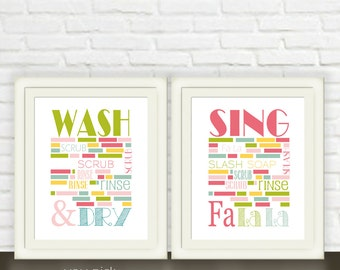 Girl's Bath Room Wall Art // Instant JPEG Download // Bath Room Printable Set of Two // Pink Green Yellow and Blue Bathroom Art
