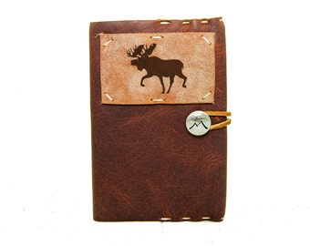 Small Leather Journal with Elk in Merlot Saddle