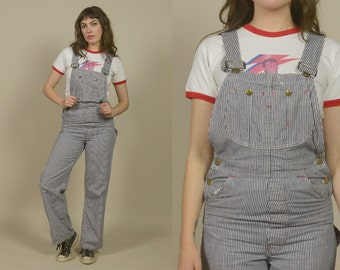 Engineer Striped Overalls 70s Denim Big Mac Pinstripes Workman 1970s Hipster Painter / Size XS Extra Small