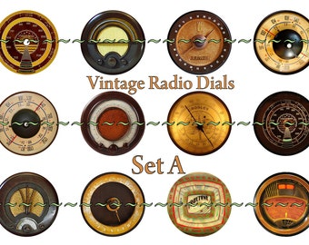 """Radio Dials magnets, pins, or flatback cabochon buttons, steampunk, dieselpunk, industrial, 1 inch or 2.25 """" available, Set A-2"""