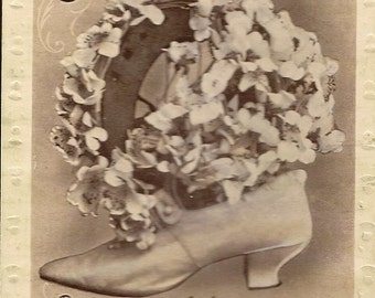 Antique Wedding Postcard Ladies Shoe Filled with Flowers and Wedding Congratulations Verse