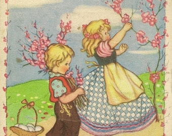 Children Collect Flowering Spring Branches Antique French Easter Postcard Joyeuses Paques – Unused Colorful Vintage Postcard