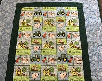 John Deere tractor baby animals playmat quilt