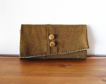 Olive Wool Trifold Clutch Wallet with Buttons and Blue Floral Interior