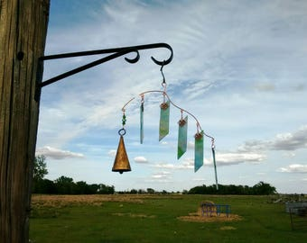 Asymmetrical blue, green and pink stained glass wind chime and sun catcher - brockus creations