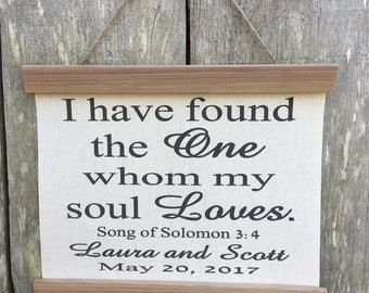 I have found the one whom my soul loves, Song of Solomon, Canvas banner,