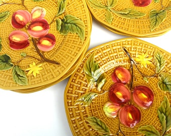 8 Germany Zell Vintage Majolica Plates, Yellow Gold Basketweave, Fruit, Teacup Logo, Set of Dishes