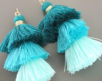 Tassel Earrings - Tiered Tassel Earrings - Statement Earrings - Blue Earrings - Turquoise Blue - Long Earrings - Gold Earrings - handmade