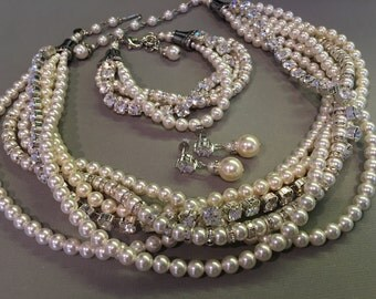 Complete Bridal Jewelry Set Necklace Bracelet Earrings in Ivory and White  Chunky Pearl Twisted Torsade wedding