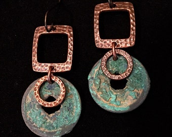 Artisan earring #58...Antique Chinese coin/ hammered copper hoop