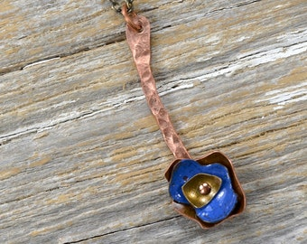 Recaimed Copper and Formed Layered Enameled Flower Necklace - Reclamied Copper and Fire Torched Bright Blue Enamel Flower Necklace