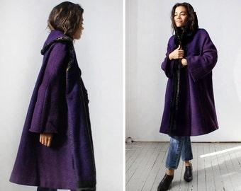 Boucle Coat M • 40s Coat • Purple Coat • Wool Coat Fur Collar • Vintage Wool Coat • Wool Swing Coat • Fur Collar Coat • 1940s Coat | O239
