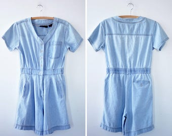 Denim Romper S/M •  Giorgio Sant'Angelo Cotton Romper • 80s Romper • Light Blue Romper • Summer Romper • Baseball Romper | D1158