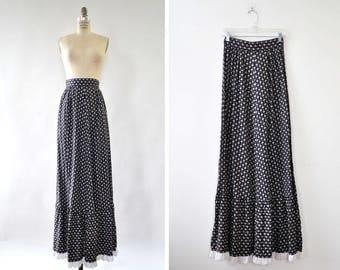 Black Calico Skirt XS/S • 70s Skirt • Vintage Maxi Skirt • Prairie Skirt • Black Maxi Skirt • Ruffle Skirt • Cotton Maxi Skirt   SK306