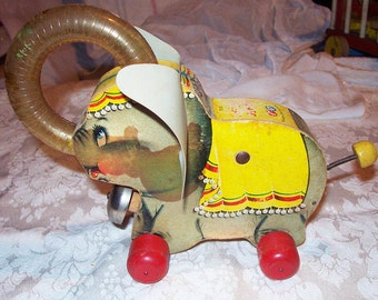 JUGGLING JUMBO * 1958  Vintage Fisher Price * Pull Toy * #735 * Elephant