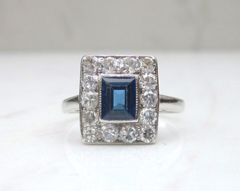 MidCentury Vintage Platinum, Diamond and Cornflower Blue Sapphire Unique Halo Engagement Ring, Size 6
