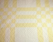 "Sweet Pastel Lemon Yellow and White ""Grandmother's Irish Chain"" Vintage Quilt Piece — 24 x 24 Inches — Lovely Dense Hand Quilting"