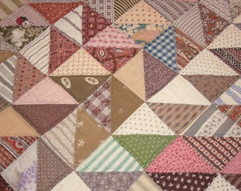 Madder Brown, Double Pinks & Calico Triangles 19th Century Antique Quilt Piece - 28 x 18 Inches