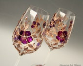 Wine Glasses, Hand Painted, Purple Copper Glasses, Wedding Glasses, Anniversary Glasses, Set of 2