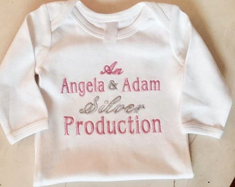 Personalized Production Onesie or T-shirt, Baby Shower, Announcement, Hospital Gift,